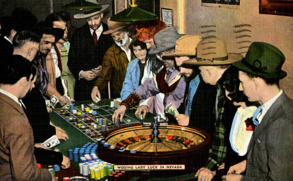 Digital ID pho016275 Title Postcard of Roulette players, Las Vegas, circa 1940s Description Postcard of people playing roulette, addressed to Mr. Fred Longstore in Salt Lake City, Utah. Handwr ...