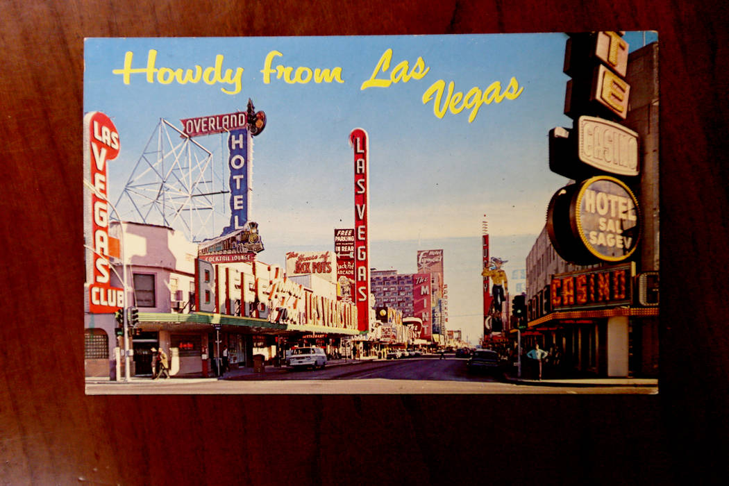 An old postcard of Fremont Street that's held at the Clark County Museum in Henderson on Monday, June 25, 2018. Rachel Aston Las Vegas Review-Journal @rookie__rae