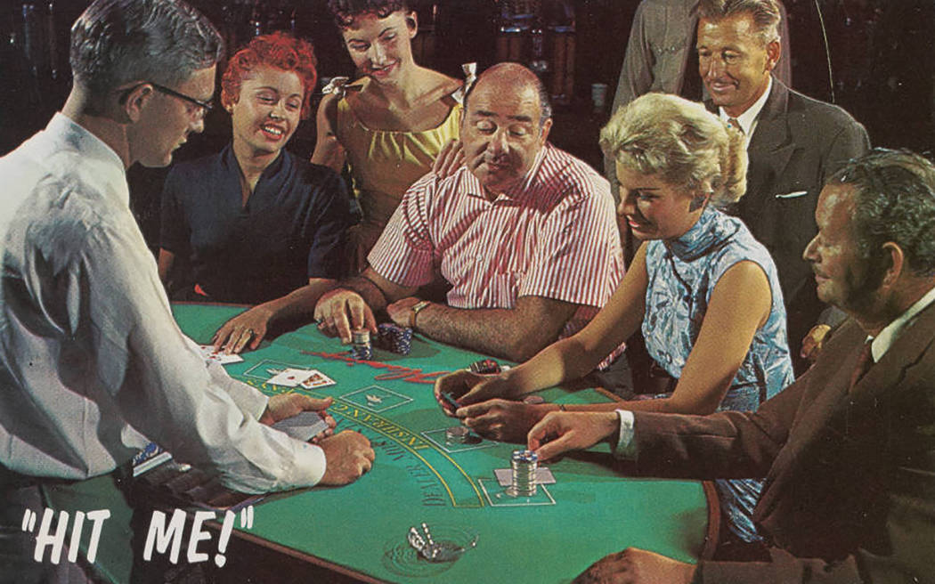 Digital ID pho020268 Title Postcard of people playing blackjack at the Flamingo Hotel and Casino, Las Vegas (Nev.), late 1950s-early 1960s Description Postcard showing people gambling at a blac ...