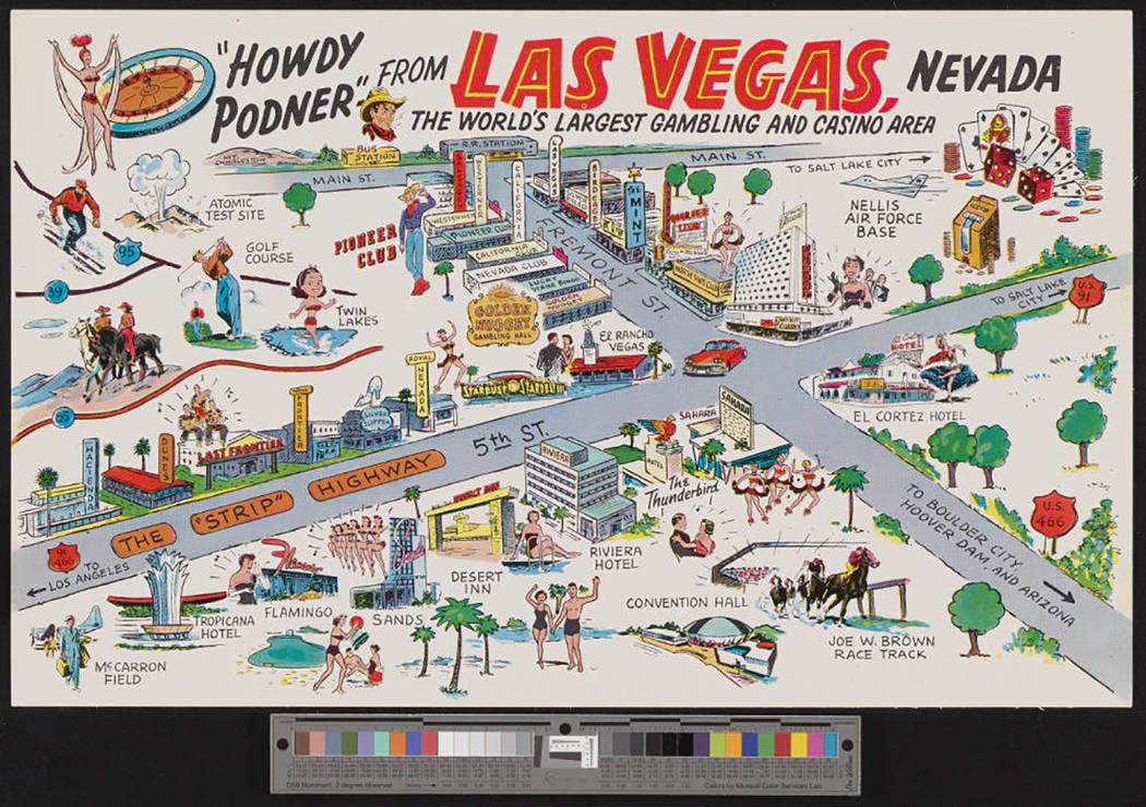 Postcard withPostc caricature map of attractions in and around Las Vegas, Nevada, 1959-1960s Description Oversized postcard with caricature map of attractions in and around Las Vegas, Nevada, fe ...