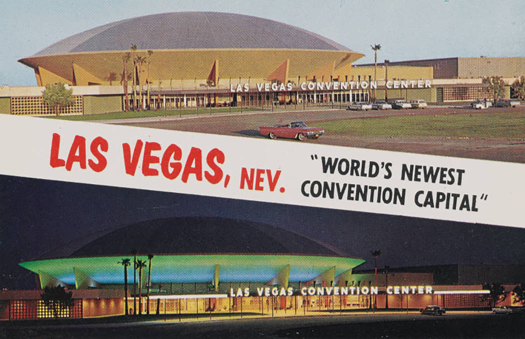 pho020264 Title Postcard of the Las Vegas Convention Center, day and night views, 1959 Description Postcard with day and night views of the front exterior of the Las Vegas Convention Center shor ...