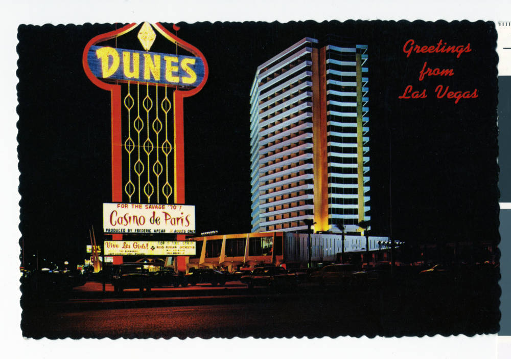 "Digital ID pho024936 Title Postcard of the Dunes Hotel, Las Vegas, (Nev.), 1955-1970 Description Night view of the Dunes Hotel and Casino. Postcard reads ""Greetings from Las Vegas"" So ..."
