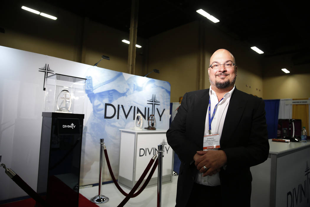 Anthony Zuiker, creator of CSI television shows and founder of Divinity, during the display the International Cemetery, Cremation, and Funeral Association convention, at the Mandalay Bay Conventio ...