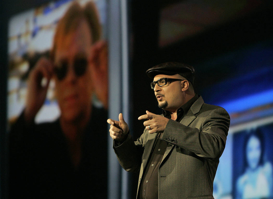 """Anthony Zuiker, creator of the """"CSI"""" television series, speaks during a keynote speech by Leslie Moonves, president and CEO of CBS Corp., not shown, at the Consumer Electronics Show in L ..."""