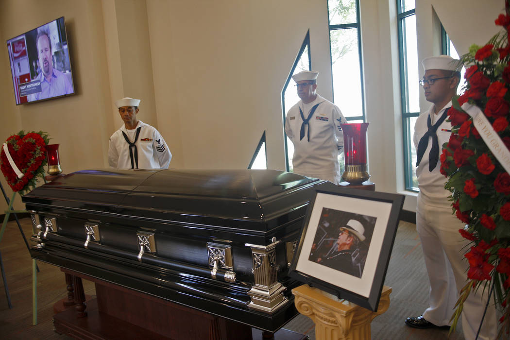 """The casket of Richard """"The Old Man"""" Harrison from the Pawn Stars T.V. show, who died Monday after a long battle with Parkinson's disease, at Palm Mortuary in Las Vegas, Sunday, July 1, 2 ..."""