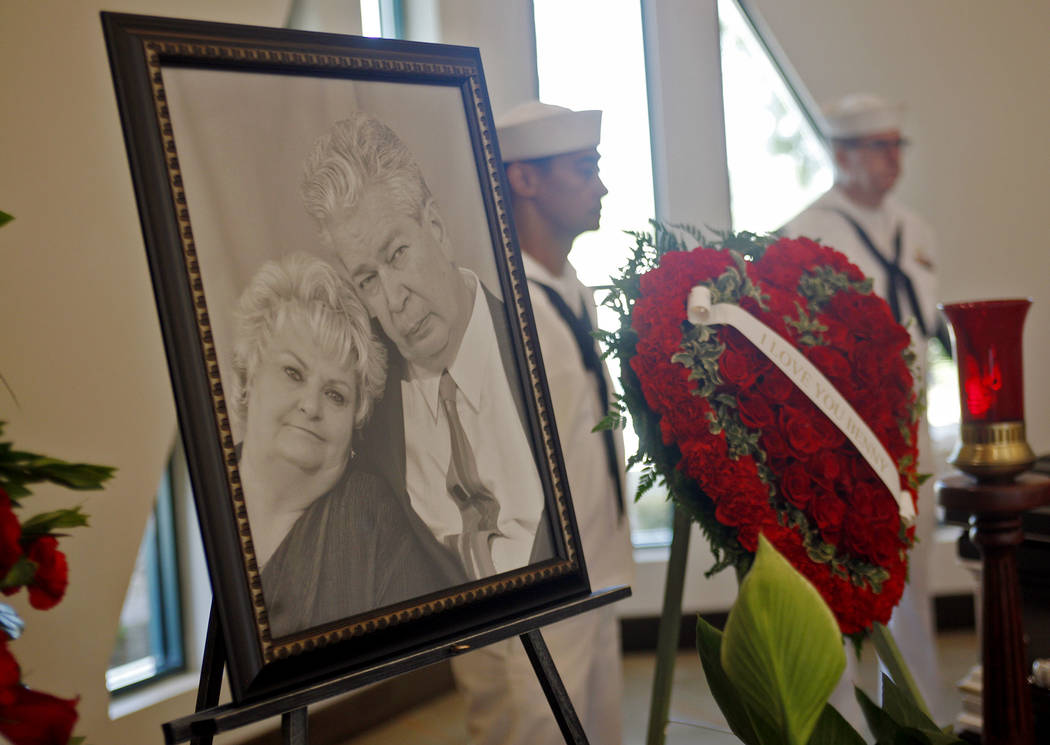 """A photo of Richard """"The Old Man"""" Harrison and his wife JoAnne Rhue Harrison near his casket at Palm Mortuary in Las Vegas, Sunday, July 1, 2018. Well known as the patriarch in the Pawn S ..."""