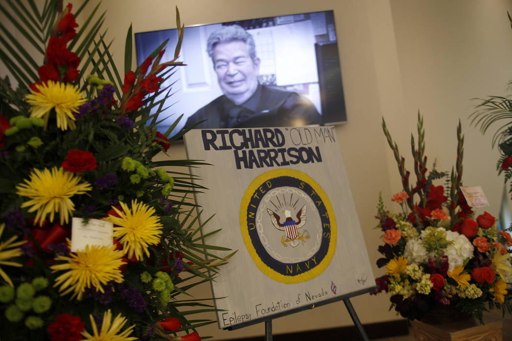 """Richard """"The Old Man"""" Harrison is shown in the T.V. show Pawn Stars on the screen at his memorial service at Palm Mortuary in Las Vegas, Sunday, July 1, 2018. Well known as the patriarch ..."""