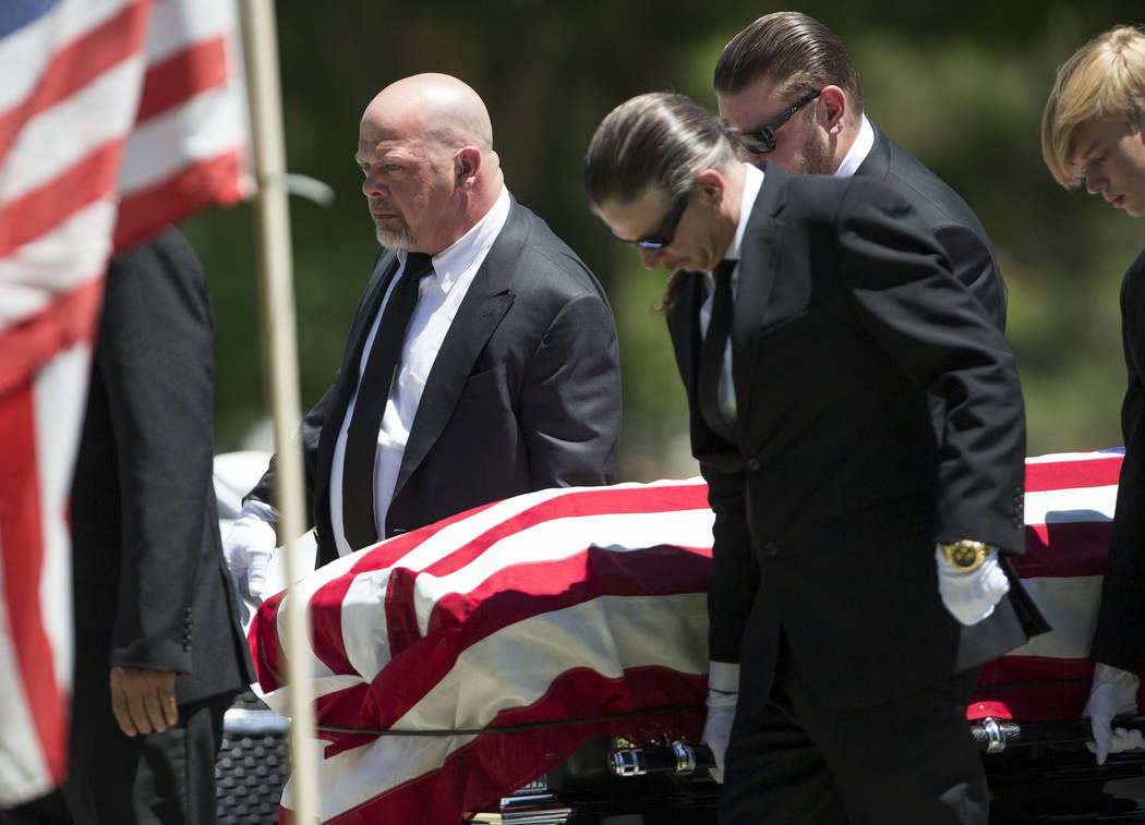 """Reality television personality Rick Harrison, left, serves as a pallbearer the funeral service of his father, """"Pawn Stars"""" patriarch, Richard Benjamin Harrison, known as """"The Old Ma ..."""