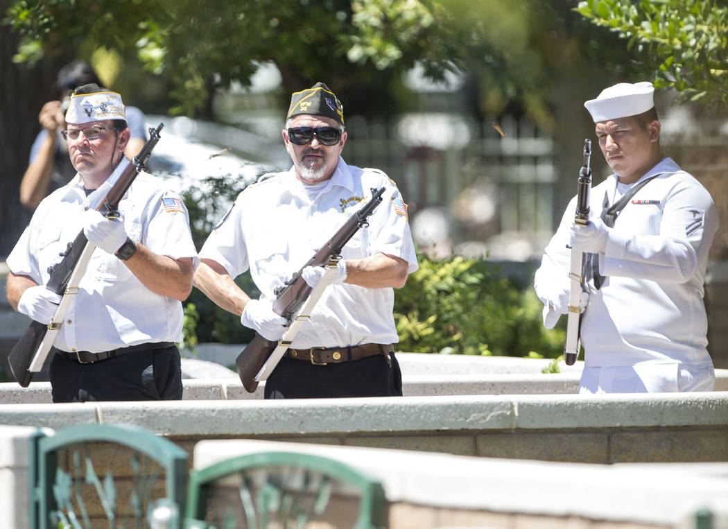 """A ceremonial gun salute takes place during the funeral service of """"Pawn Stars"""" patriarch, Richard Benjamin Harrison, known as """"The Old Man,"""" at his funeral service at Palm Nort ..."""