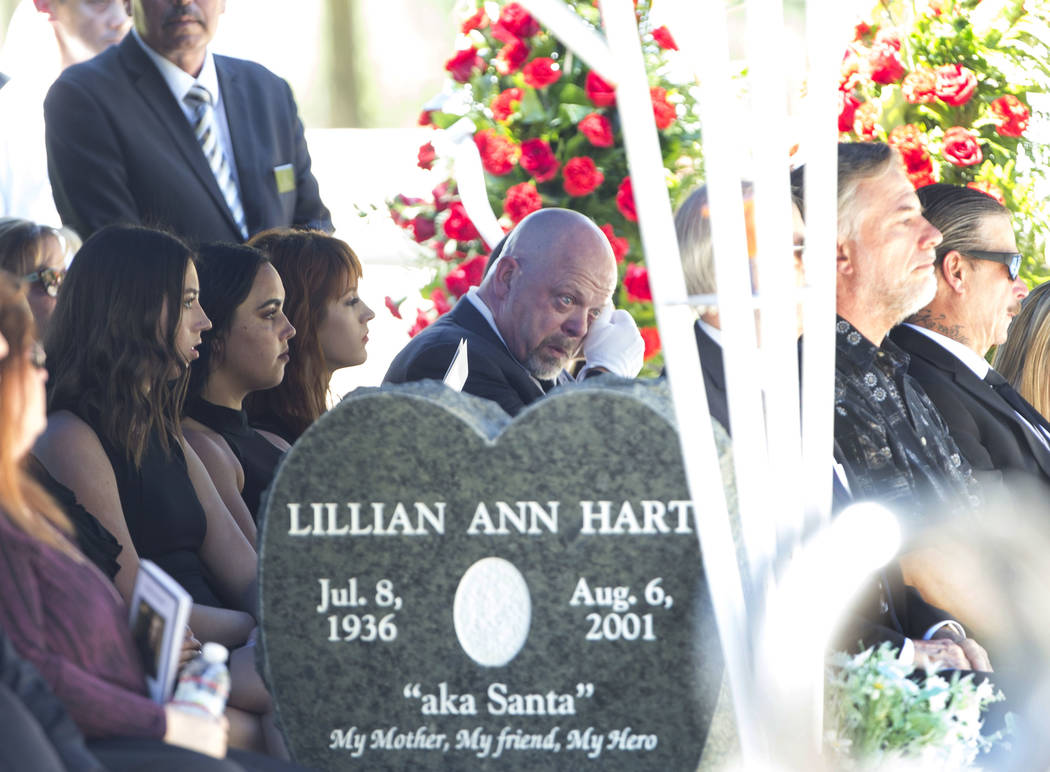 """Reality television personality Rick Harrison, center, wipes away tears as he attends the funeral service of his father, """"Pawn Stars"""" patriarch, Richard Benjamin Harrison, known as """" ..."""