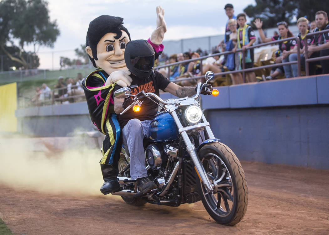 Las Vegas Lights FC's mascot Cash the Soccer Rocker rides onto the field before the start of Vegas' game with Saint Louis FC on Saturday, July 7, 2018, at Cashman Field, in Las Vegas. Benjamin Hag ...