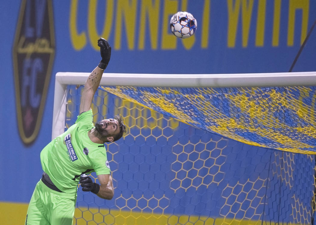 Saint Louis FC goalkeeper Tomás Gómez (1) makes a save in the first half during their game with Las Vegas Lights FC on Saturday, July 7, 2018, at Cashman Field, in Las Vegas. Benjamin Ha ...