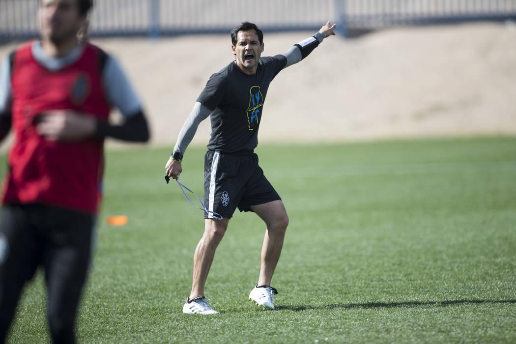 Las Vegas Lights FC coach Isidro Sánchez during a team practice at Kellogg Zaher Soccer Complex in Las Vegas, Thursday, Jan. 25, 2018. Erik Verduzco Las Vegas Review-Journal @Erik_Verduzco