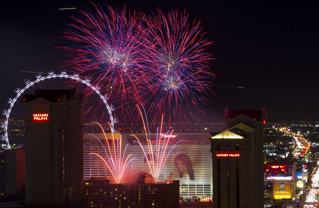 A fireworks show goes off at Caesars Palace on The Strip to kick off a week-long of Fourth of July festivities around the valley as seen from APEX Social Club atop the Palms in Las Vegas, Saturday ...