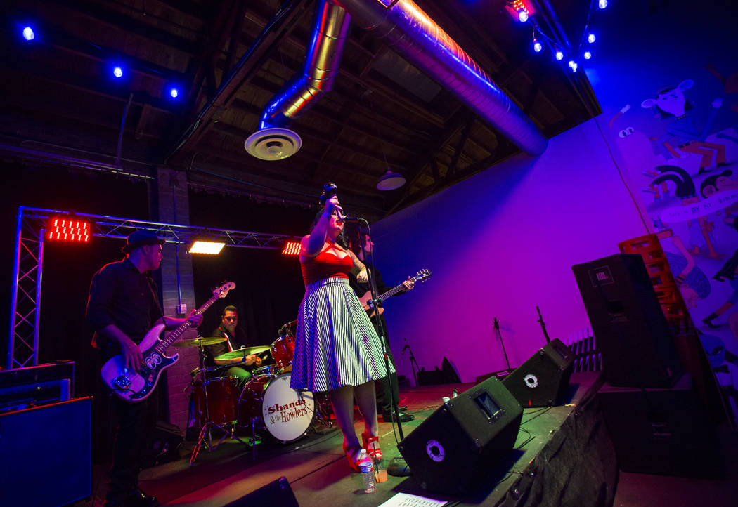 Shanda & The Howlers perform at Cornish Pasty in downtown Las Vegas on Friday, June 22, 2018. Chase Stevens Las Vegas Review-Journal @csstevensphoto