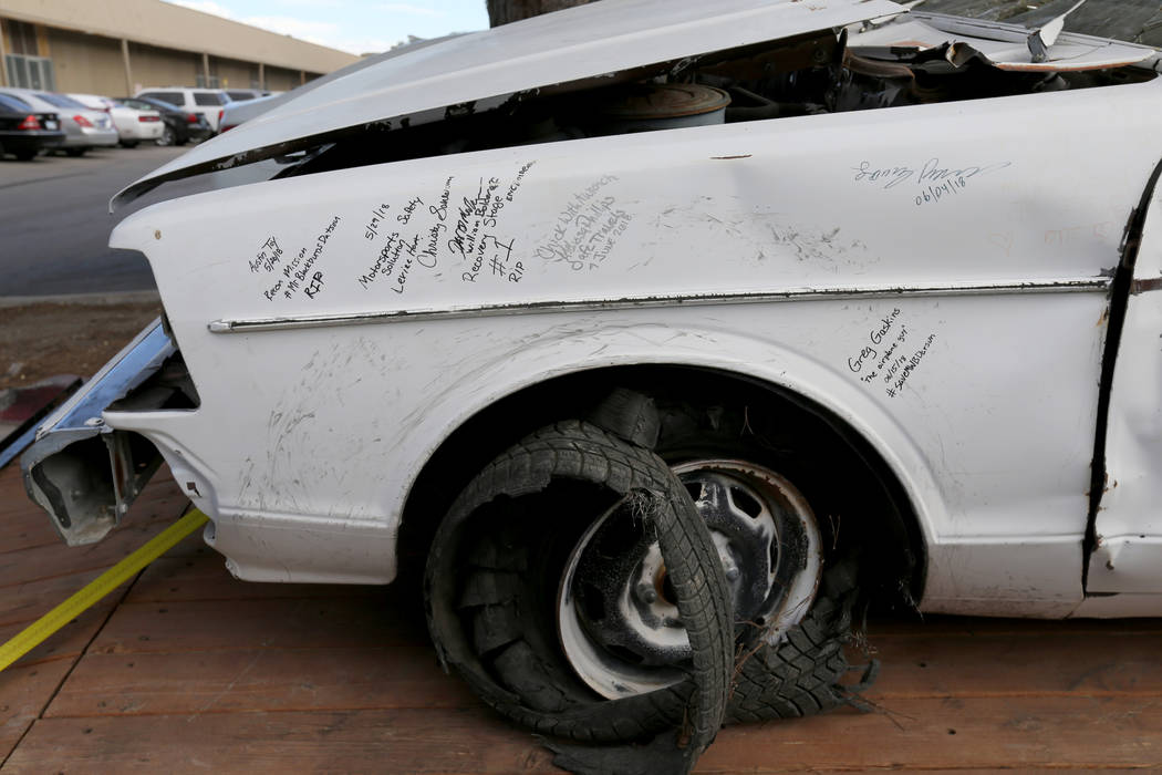 A car that belonged to the late Las Vegas Showboat casino blackjack dealer Mark Blackburn with notes from volunteers who helped recover it at Chick With A Wrench shop in Las Vegas Friday, June 15, ...
