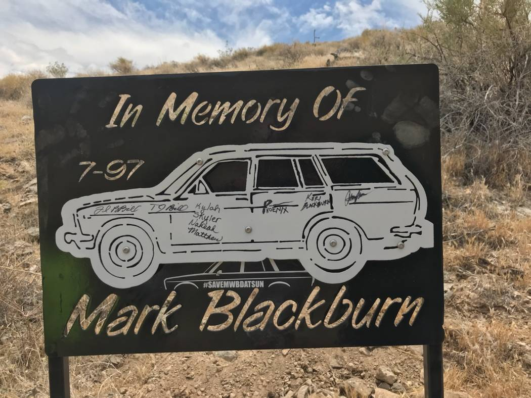 A photo of the steel sign that was placed where Mark Blackburn died in 1997. Photo courtesy of Michael Blackburn.