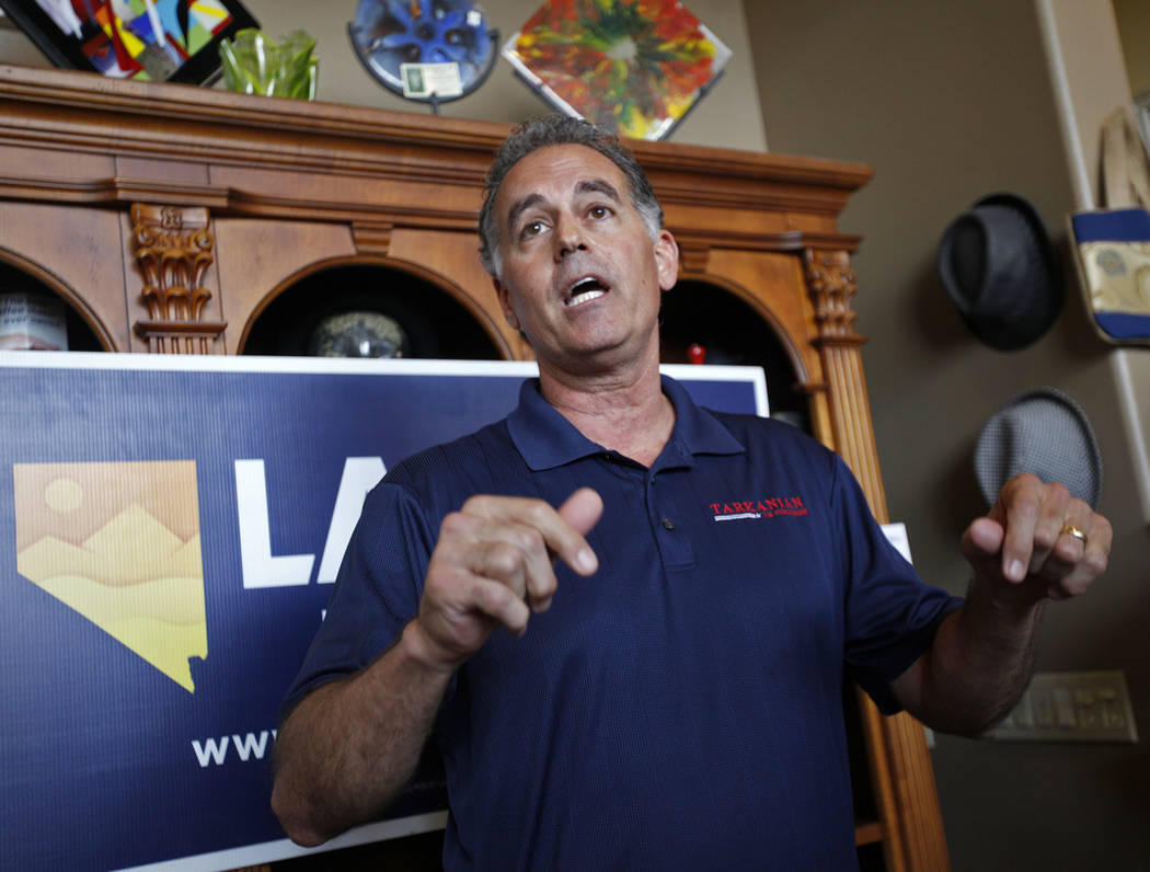 """Danny Tarkanian, a Republican running for 3rd Congressional District of Nevada, speaks to the crowd at a """"Get-Out-The-Vote"""" campaign at Avery's Coffee Shop in Las Vegas, Wednesday, May 30, 2018. ( ..."""