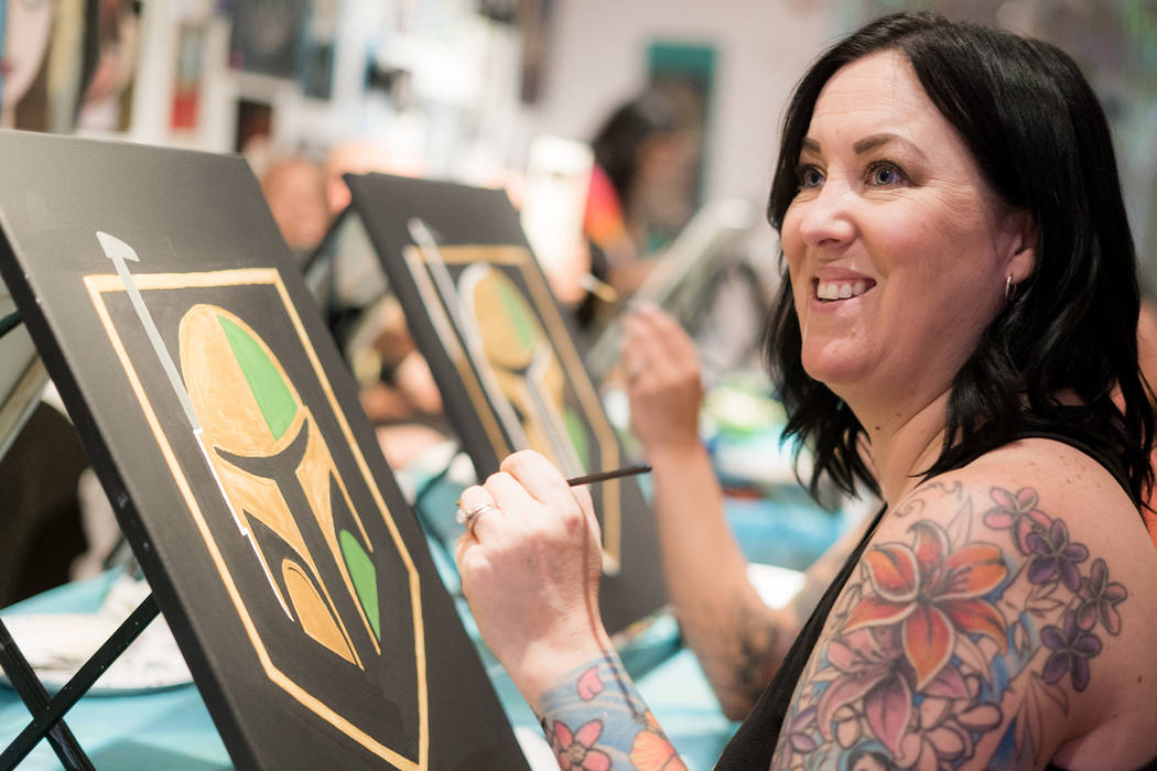 Fiona Fraias attends the Boba Fett Golden Knight Paint Class at The Bubblegum Gallery in Las Vegas, Friday, June 29, 2018. (Marcus Villagran/Las Vegas Review-Journal) @brokejournalist