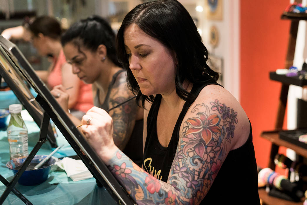 Fiona Fraias attends the Boba Fett Golden Knight Paint Class at The Bubblegum Gallery in Las Vegas, Friday, June 29, 2018. (Marcus Villagran/Las Vegas Review-Journal) @brokejournalist