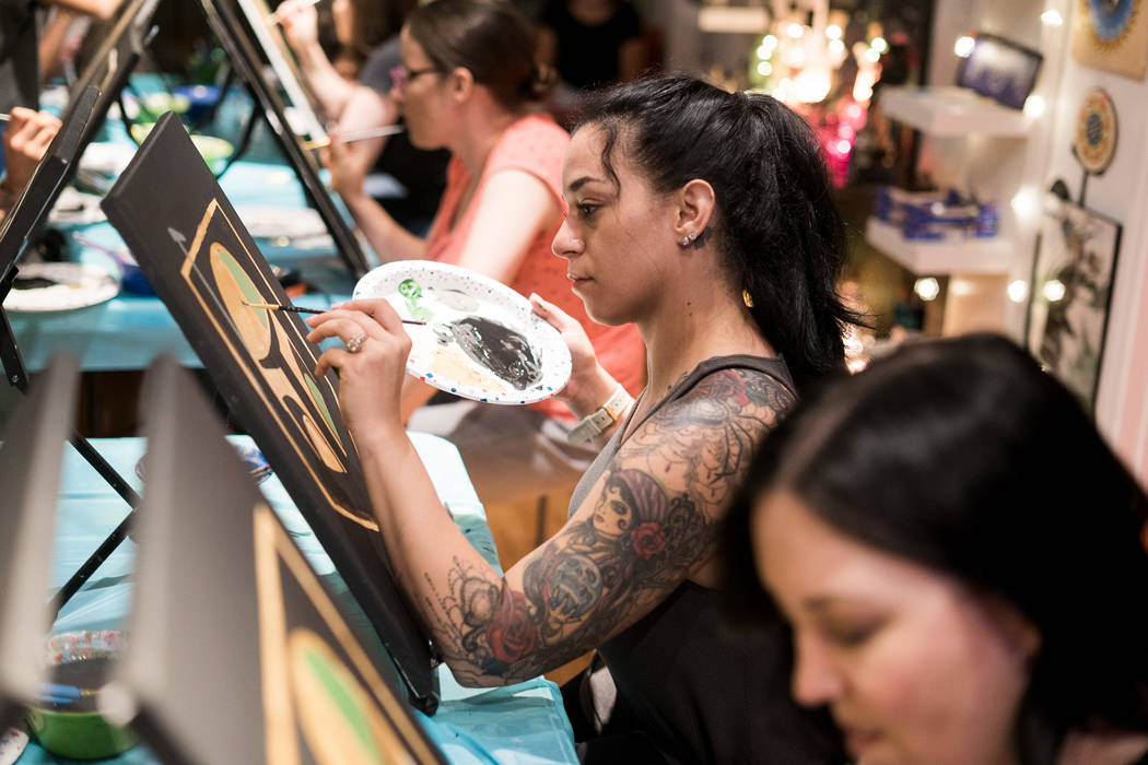 Jasmine Turner attends the Boba Fett Golden Knight Paint Class at The Bubblegum Gallery in Las Vegas, Friday, June 29, 2018. (Marcus Villagran/Las Vegas Review-Journal) @brokejournalist