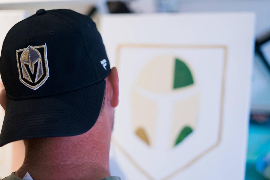 Vegas Golden Knights and Star Wars fan Samuel Jernigan attends the Boba Fett Golden Knight Paint Class at The Bubblegum Gallery in Las Vegas, Friday, June 29, 2018. (Marcus Villagran/Las Vegas Rev ...