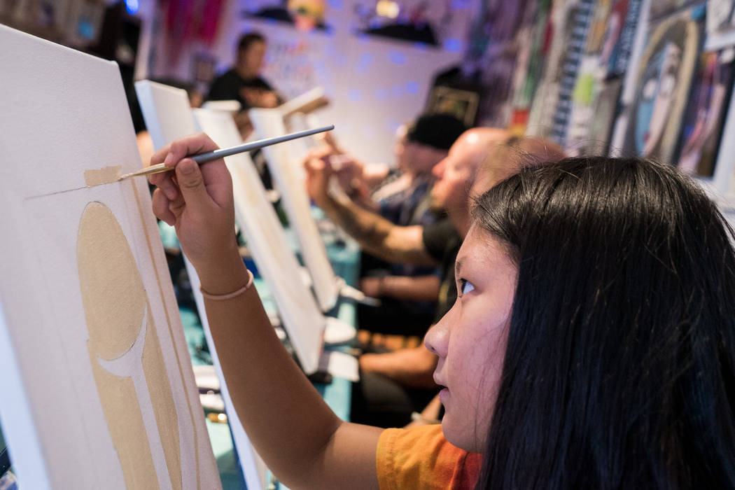 Ria Patag, 15, attends the Boba Fett Golden Knight Paint Class at The Bubblegum Gallery in Las Vegas, Friday, June 29, 2018. (Marcus Villagran/Las Vegas Review-Journal) @brokejournalist