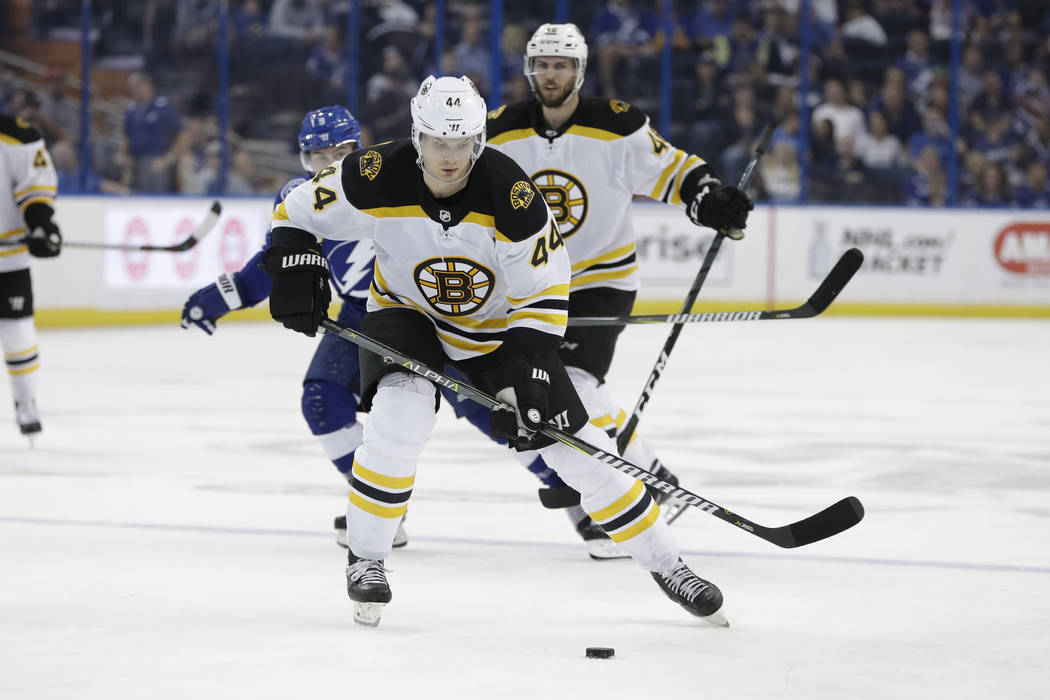 Boston Bruins defenseman Nick Holden (44) during the third period of an NHL hockey game against the Tampa Bay Lightning Tuesday, April 3, 2018, in Tampa, Fla. The Lightning won the game 4-0. (AP P ...