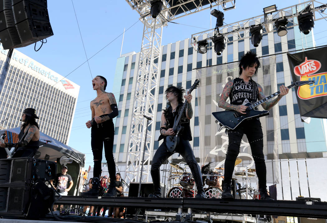 Black Veil Brides performs during Warped Tour at Downtown Las Vegas Events Center on Friday, June 29, 2018. K.M. Cannon Las Vegas Review-Journal @KMCannonPhoto