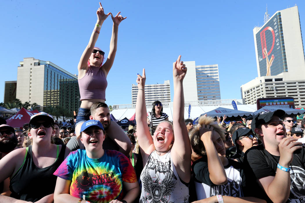 Fans watch We the Kings perform during Warped Tour at Downtown Las Vegas Events Center on Friday, June 29, 2018. K.M. Cannon Las Vegas Review-Journal @KMCannonPhoto