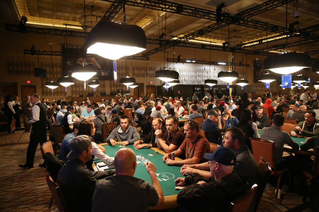 Players compete during the World Series of Poker Colossus $565 buy-in No-Limit Hold'em Event at the Rio Convention Center in Las Vegas, Saturday, June 2, 2018. Erik Verduzco Las Vegas Revie ...