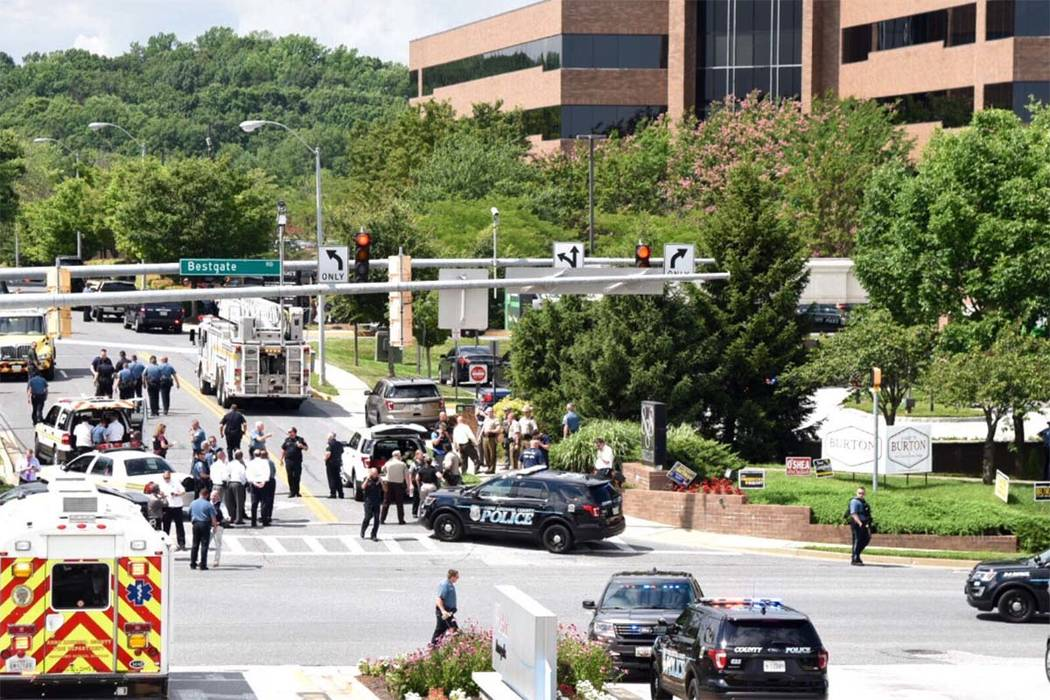 A gunman opened fire at The Capital Gazette newspaper in Annapolis, Maryland, on Thursday, June 28, 2018. (Twitter/Joshua McKerrow, The Capital Gazette, @joshuamckerrow @capgaznews)