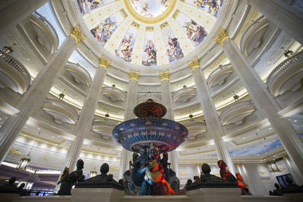 The hotel lobby at the Parisian Macao hotel-casino is photographed during a tour on Wednesday, Sept. 14, 2016, in Macau. (Erik Verduzco/Las Vegas Review-Journal Follow @Erik_Verduzco)