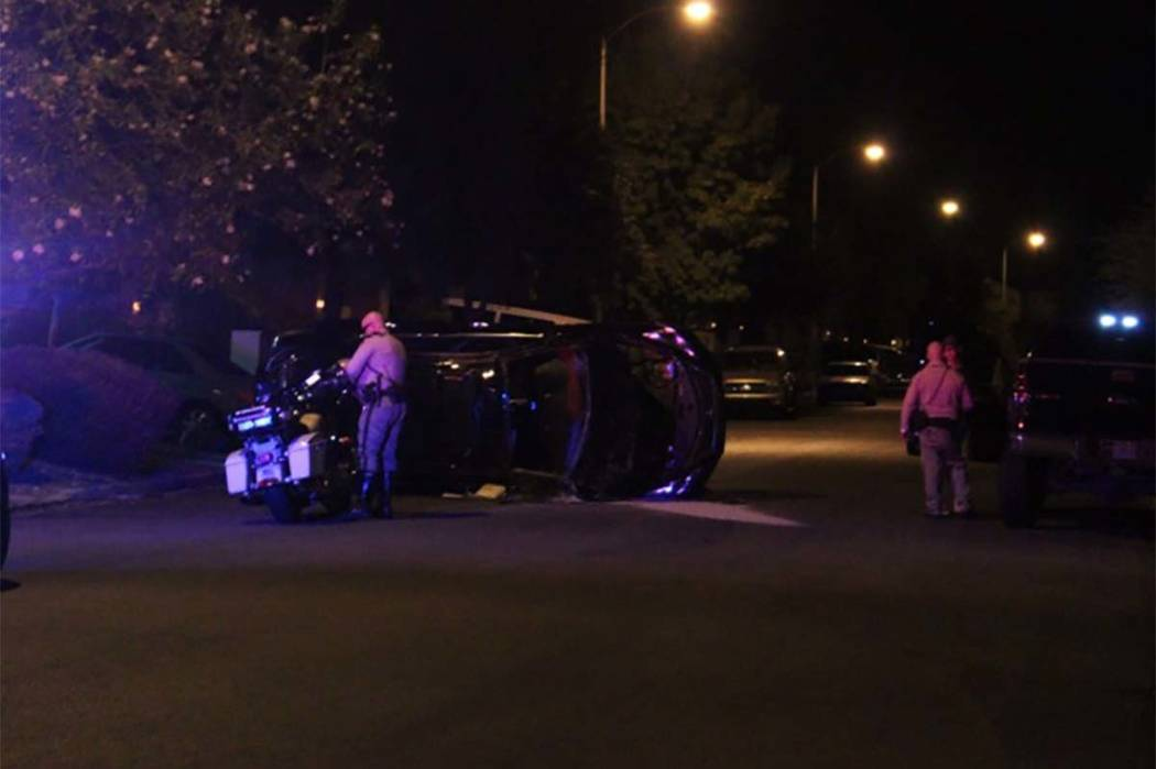 Las Vegas police are investigating a rollover crash on Bella Palermo Way, near Valley View and Somerset Hills. (Max Michor/Las Vegas Review Journal)