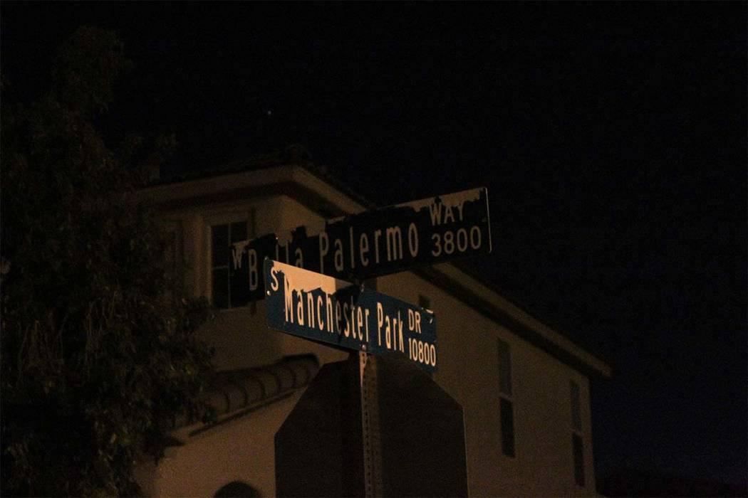 Las Vegas police are investigating a rollover crash on Bella Palermo Way. (Max Michor/Las Vegas Review Journal)