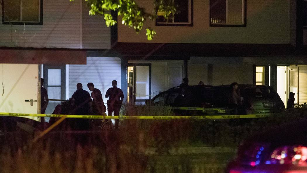 Boise police investigate at a crime scene near the corner of State and Wyle Streets in Boise just before 11:00 p.m. Saturday, June 30, 2018. During a news conference Police Chief Bill Bones report ...