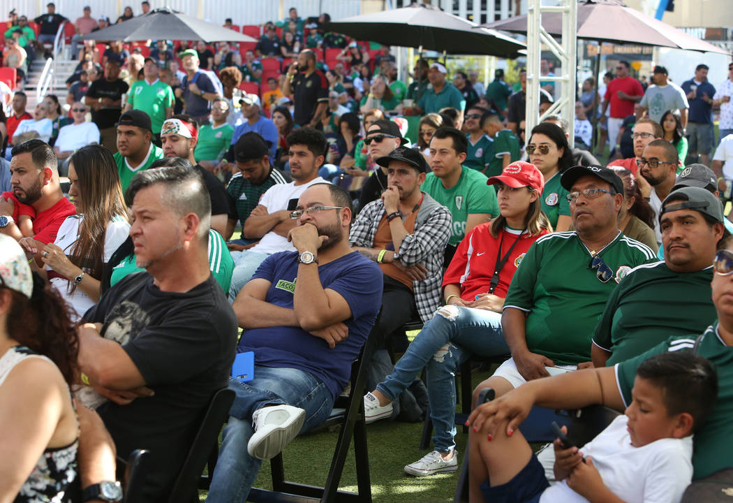 Mexico fans watch the last minute of a match between Mexico and Brazil during a watch party of the World Cup at the Downtown Las Vegas Event Center on Monday, July 02, 2018. Brazil beat Mexico 2-0 ...