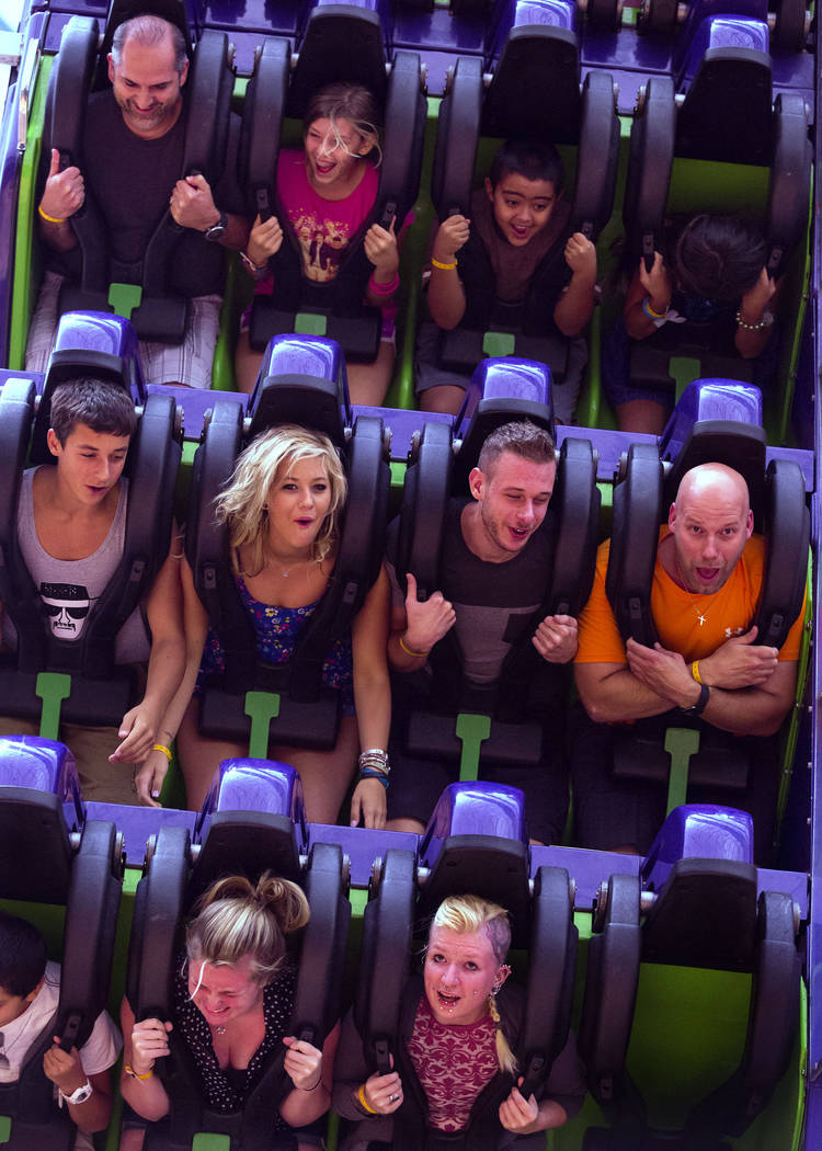 People ride the Inverter at Adventuredome. (Las Vegas Review-Journal)