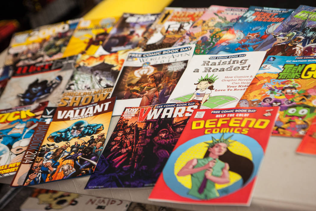 A selection of comics slated to be given out on Free Comic Book Day are seen on display at Alternate Reality Comics, 4110 S. Maryland Parkway, in Las Vegas on Wednesday, April 23, 2014. Free Comic ...