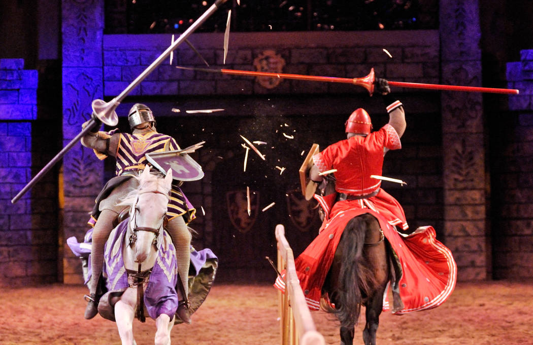 Anthony Root riding Osiris, left, battles Chris Warren riding Cubby, during a jousting demonstrate after the Tournament of Kings show at the Excalibur hotel-casino in Las Vegas, Thursday, Oct. 6, ...
