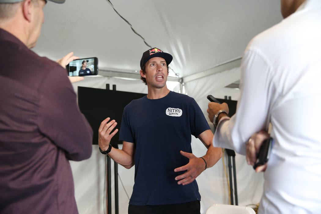 Travis Pastrana, professional motorsports competitor and stunt performer, is interviewed at the Caesars Palace casino-hotel in Las Vegas, Friday, July 6, 2018. Pastrana will be attempting to jump ...