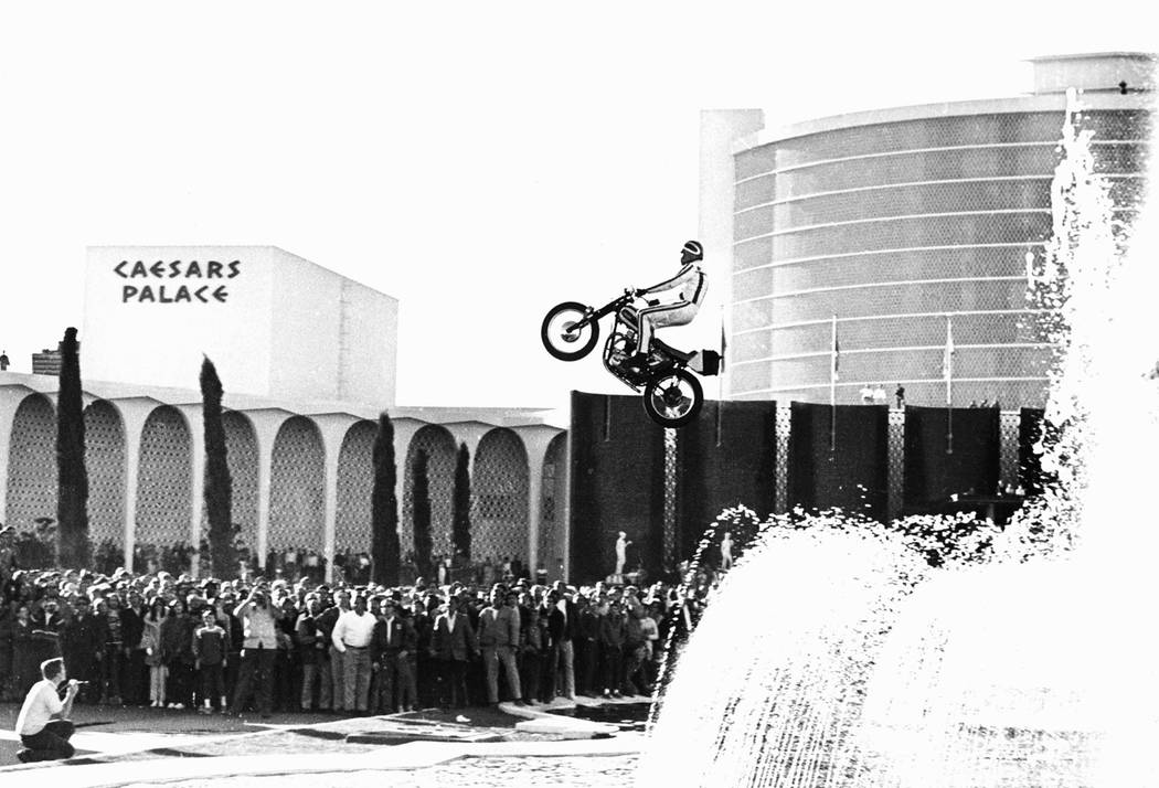 Evel Knievel jumps the fountains at Caesars Palace on 12-31-67 in Las Vegas, Nevada. (Photo courtesy: Las Vegas News Bureau) Evel Knievel jumps the fountains at Caesars Palace on 12-31-67 in ...