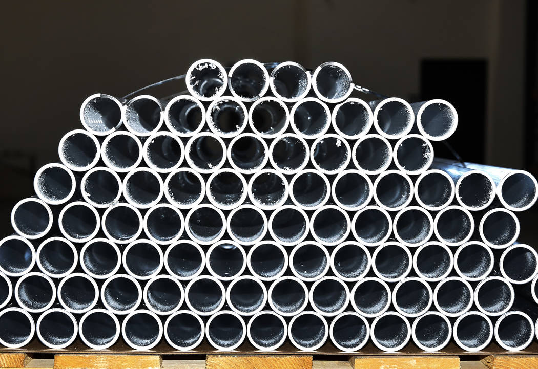 Cut aluminum pipes are seen at Precision Tube Laser, LLC, on Wednesday, June 20, 2018, in Las Vegas. Bizuayehu Tesfaye/Las Vegas Review-Journal @bizutesfaye