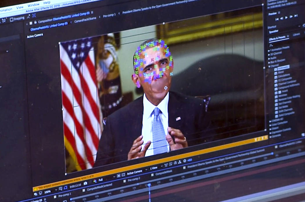 This image made from video of a fake video featuring former President Barack Obama shows elements of facial mapping used in new technology that lets anyone make videos of real people appearing to ...
