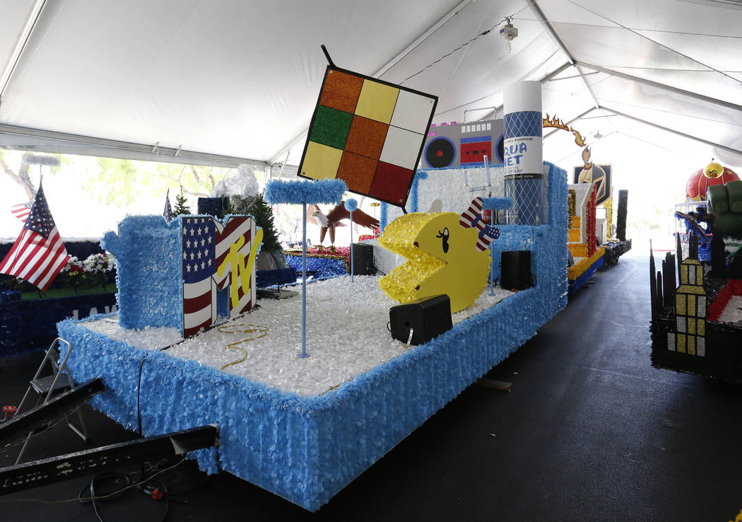 A Rubik's Cube float to be featured in the Summerlin Patriotic Parade is displayed at the Trails Park on Monday, July 02, 2018, in Summerlin. Bizuayehu Tesfaye/Las Vegas Review-Journal @bizutesfaye