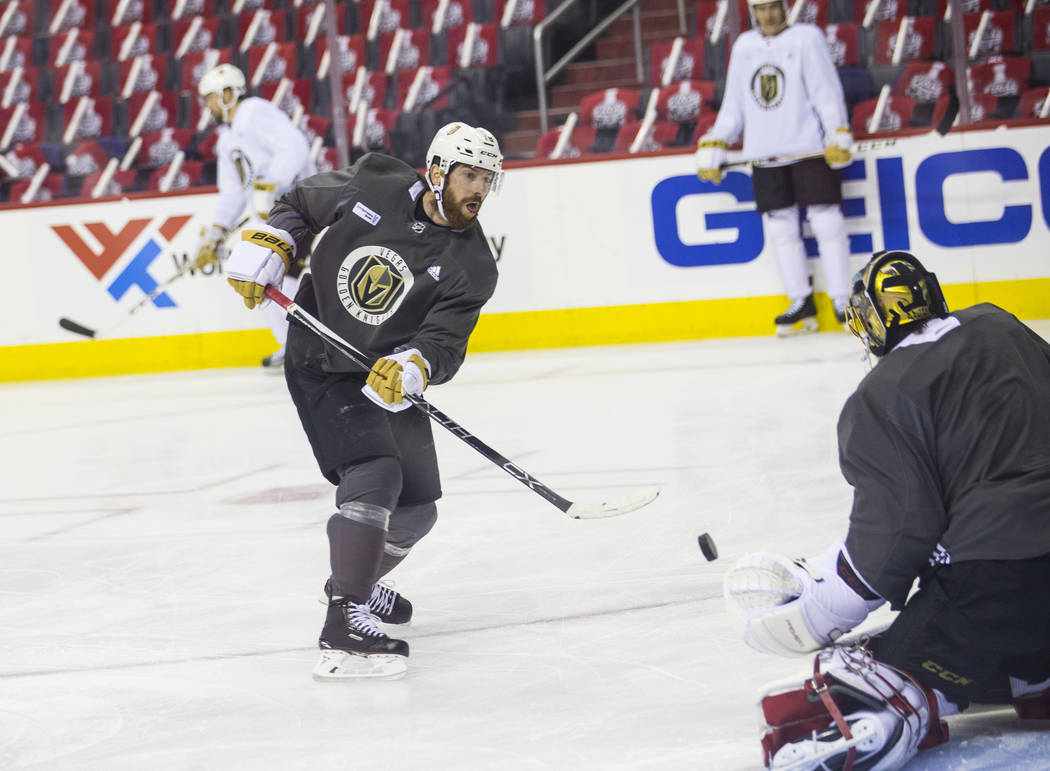 Golden Knights left wing James Neal (18) shoots during practice ahead of Game 3 of the Stanley Cup Final against the Washington Capitals at Capital One Arena in Washington on Saturday, June 2, 201 ...