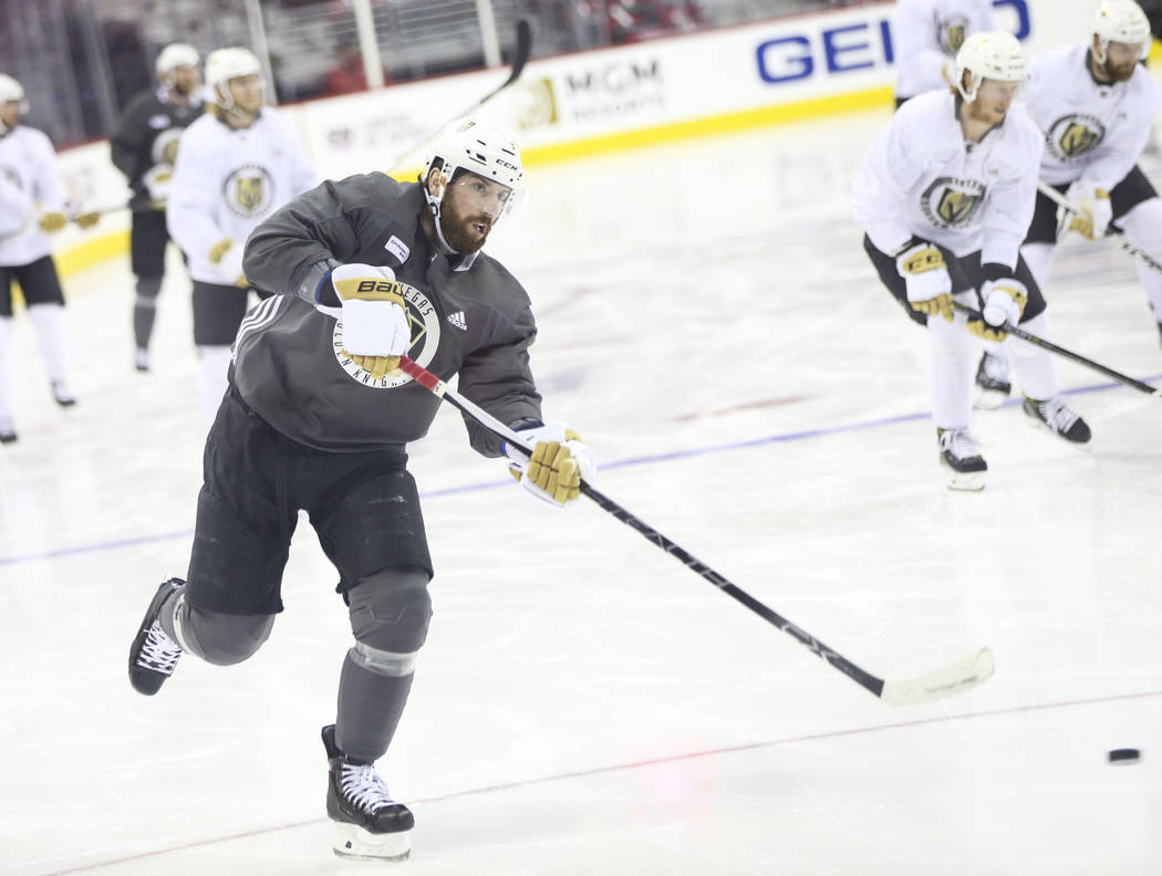 Golden Knights left wing James Neal shoots during practice ahead of Game 4 of the Stanley Cup Final at Capital One Arena in Washington on Monday, June 4, 2018. Chase Stevens Las Vegas Review-Journ ...