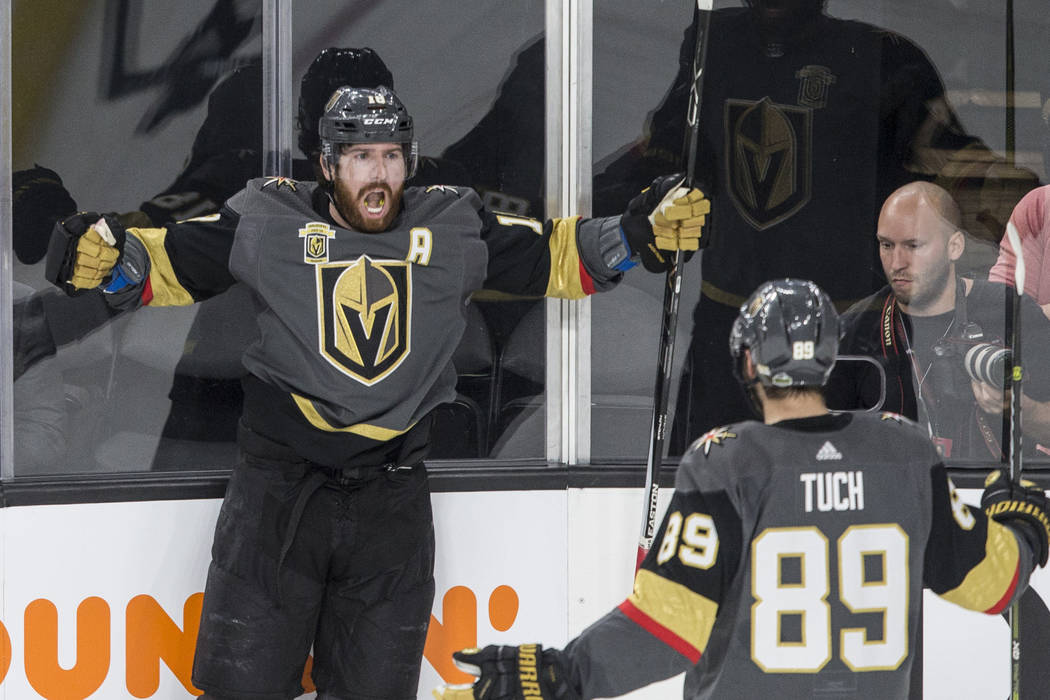 Golden Knights left wing James Neal (18) celebrates after scoring a second period goal during game three of Las Vegas' NHL Western Conference Finals matchup with Winnipeg on Wednesday, May 16, 201 ...