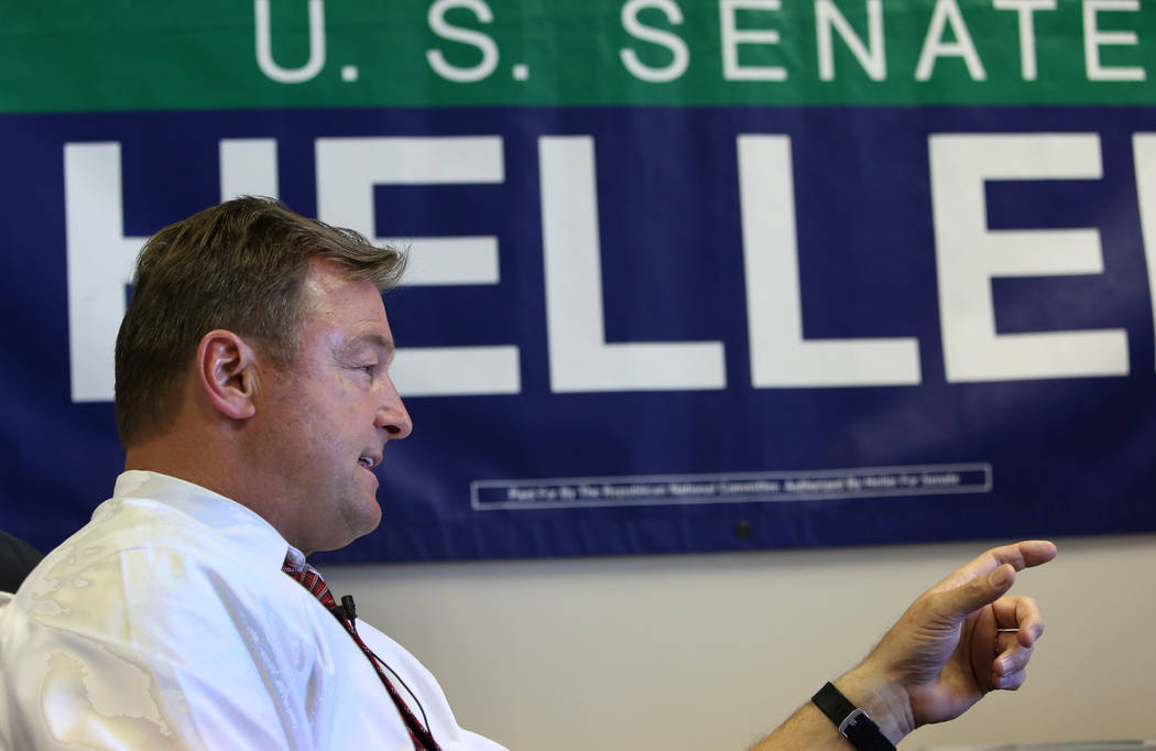 Sen. Dean Heller, R-Nev., speaks during an interview with the Las Vegas Review-Journal at his Las Vegas campaign headquarters on Monday, May 28, 2018. (Bizuayehu Tesfaye/Las Vegas Review-Journal) ...
