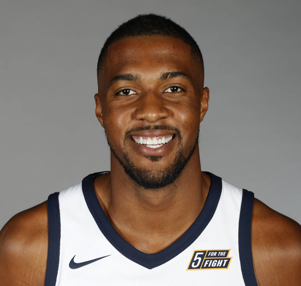 In this Sept. 25, 2017, file photo, Utah Jazz's Derrick Favors poses for a picture during team's media day, in Salt Lake City. (AP Photo/George Frey, File)